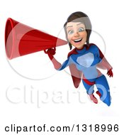Clipart Of A 3d Young Brunette White Female Super Hero In A Blue And Red Suit Flying And Announcing With A Megaphone Royalty Free Illustration by Julos
