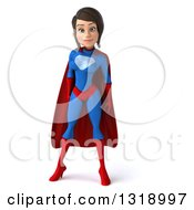 Clipart Of A 3d Young Brunette White Female Super Hero In A Blue And Red Suit Royalty Free Illustration by Julos