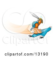 Orange Man Holding Up A Sword And Flying On A Magic Carpet Clipart Illustration