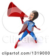 Clipart Of A 3d Young Brunette White Female Super Hero In A Blue And Red Suit Announcing Up To The Left With A Megaphone Royalty Free Illustration by Julos