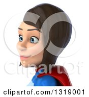Clipart Of A 3d Avatar Of A Young Brunette White Female Super Hero In A Blue And Red Suit Facing Left Royalty Free Illustration