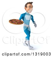 Clipart Of A 3d Young White Male Super Hero In A Light Blue Suit Walking Slightly Right And Holding A Pizza Royalty Free Illustration
