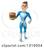 Clipart Of A 3d Young White Male Super Hero In A Light Blue Suit Walking And Holding A Double Cheeseburger Royalty Free Illustration