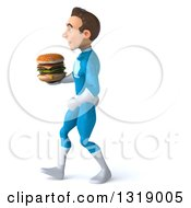 Clipart Of A 3d Young White Male Super Hero In A Light Blue Suit Walking To The Left And Holding A Double Cheeseburger Royalty Free Illustration