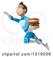 Clipart Of A 3d Young White Male Super Hero In A Light Blue Suit Flying Up To The Left And Holding A Double Cheeseburger Royalty Free Illustration