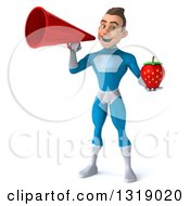 Clipart Of A 3d Young White Male Super Hero In A Light Blue Suit Holding A Strawberry And Announcing With A Megaphone Royalty Free Illustration
