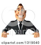 Clipart Of A 3d Macho White Businessman Smiling Over A Sign Royalty Free Illustration