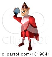 Clipart Of A 3d Caucasian Red Super Hero Man Facing Left Talking On A Smart Cell Phone Royalty Free Illustration by Julos