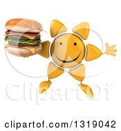 Clipart Of A 3d Happy Sun Character Jumping And Holding A Double Cheeseburger Royalty Free Illustration