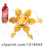 Clipart Of A 3d Happy Sun Character Jumping And Holding A Soda Bottle Royalty Free Illustration