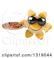 Clipart Of A 3d Happy Sun Character Wearing Shades Holding And Pointing To A Pizza Royalty Free Illustration