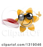 Clipart Of A 3d Happy Sun Character Wearing Shades Holding Up A Finger And A Beef Steak Royalty Free Illustration