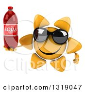 Clipart Of A 3d Happy Sun Character Wearing Shades And Holding A Soda Bottle Royalty Free Illustration