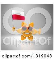 Clipart Of A 3d Sun Character Wearing Shades Holding A Polish Flag And Giving A Thumb Up On Gray Royalty Free Illustration