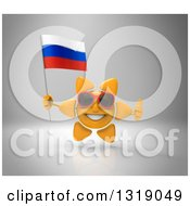 Clipart Of A 3d Sun Character Wearing Shades Giving A Thumb Up And Holding A Russian Flag Over Gray Royalty Free Illustration