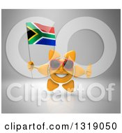 Clipart Of A 3d Sun Character Wearing Shades Holding A South African Flag And Giving A Thumb Up On Gray Royalty Free Illustration