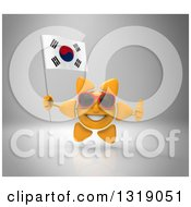Clipart Of A 3d Sun Character Wearing Shades Holding A South Korean Flag And Giving A Thumb Up On Gray Royalty Free Illustration