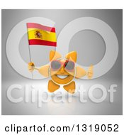 Clipart Of A 3d Sun Character Wearing Shades Holding A Spanish Flag And Giving A Thumb Up On Gray Royalty Free Illustration