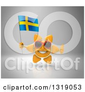 Clipart Of A 3d Sun Character Wearing Shades Holding A Swedish Flag And Giving A Thumb Up On Gray Royalty Free Illustration