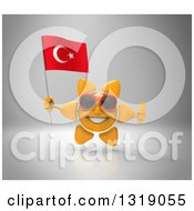 Clipart Of A 3d Sun Character Wearing Shades Giving A Thumb Up And Holding A Turkish Flag On Gray Royalty Free Illustration