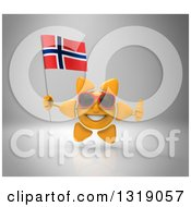 Clipart Of A 3d Sun Character Wearing Shades Giving A Thumb Up And Holding A Norwegian Flag On Gray Royalty Free Illustration