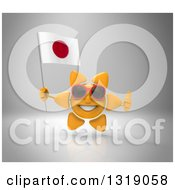 Clipart Of A 3d Sun Character Wearing Shades Holding A Japanese Flag And Giving A Thumb Up On Gray Royalty Free Illustration