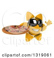 Clipart Of A 3d Sun Character Wearing Shades Facing Right Jumping And Holding A Pizza Royalty Free Illustration