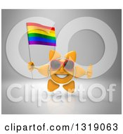 Clipart Of A 3d Sun Character Wearing Shades Giving A Thumb Up And Holding A Rainbow Flag On Gray Royalty Free Illustration