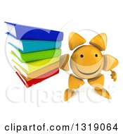 Clipart Of A 3d Happy Sun Character Holding Up A Stack Of Books Royalty Free Illustration
