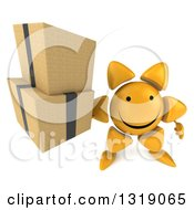Clipart Of A 3d Happy Sun Character Holding Up Boxes Royalty Free Illustration
