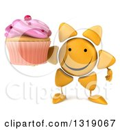 Clipart Of A 3d Happy Sun Character Holding A Pink Frosted Cupcake Royalty Free Illustration