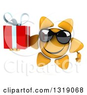 Clipart Of A 3d Happy Sun Character Wearing Sunglasses And Holding A Gift Royalty Free Illustration