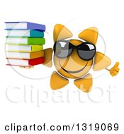 Clipart Of A 3d Happy Sun Character Wearing Shades Giving A Thumb Up And Holding A Stack Of Books Royalty Free Illustration
