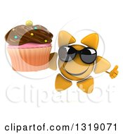 Clipart Of A 3d Happy Sun Character Wearing Sunglasses Giving A Thumb Up And Holding A Chocolate Frosted Cupcake Royalty Free Illustration