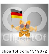 Clipart Of A 3d Sun Character Wearing Shades Giving A Thumb Up And Holding A German Flag On Gray Royalty Free Illustration
