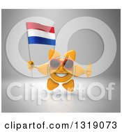 Clipart Of A 3d Sun Character Wearing Shades Holding A Netherlands Flag And Giving A Thumb Up On Gray Royalty Free Illustration