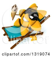 Clipart Of A 3d Sun Character Wearing Shades Sitting In A Chaise Lounge And Holding A Waffle Ice Cream Cone Royalty Free Illustration