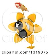 Clipart Of A 3d Sun Character Wearing Shades Cartwheeling And Holding A Waffle Ice Cream Cone Royalty Free Illustration