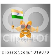 Clipart Of A 3d Sun Character Wearing Shades Giving A Thumb Up And Holding An Indian Flag On Gray Royalty Free Illustration
