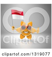 Clipart Of A 3d Sun Character Wearing Shades Holding An Indonesian Flag And Giving A Thumb Up On Gray Royalty Free Illustration