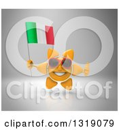 Clipart Of A 3d Sun Character Wearing Shades Giving A Thumb Up And Holding An Italian Flag On Gray Royalty Free Illustration