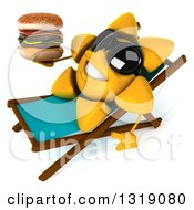 Clipart Of A 3d Happy Sun Character Wearing Shades Sitting On A Chaise Lougne Holding A Double Cheeseburger Royalty Free Illustration