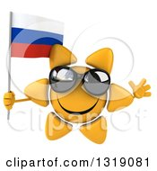 Clipart Of A 3d Sun Character Wearing Shades Jumping And Holding A Russian Flag Royalty Free Illustration