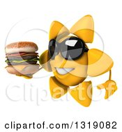 Clipart Of A 3d Happy Sun Character Wearing Shades Facing Left Holding A Double Cheeseburger Royalty Free Illustration