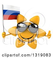 Clipart Of A 3d Sun Character Wearing Shades Giving A Thumb Up And Holding A Russian Flag Royalty Free Illustration