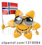 Clipart Of A 3d Sun Character Wearing Shades And Holding A Norwegian Flag Royalty Free Illustration