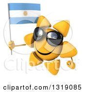 Clipart Of A 3d Sun Character Facing Left Wearing Sunglasses And Holding An Argentine Flag Royalty Free Illustration