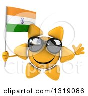 Clipart Of A 3d Sun Character Wearing Shades Jumping And Holding An Indian Flag Royalty Free Illustration
