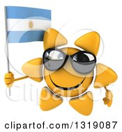 Clipart Of A 3d Sun Character Wearing Sunglasses And Holding An Argentine Flag Royalty Free Illustration