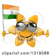 Clipart Of A 3d Sun Character Wearing Shades Giving A Thumb Up And Holding An Indian Flag Royalty Free Illustration